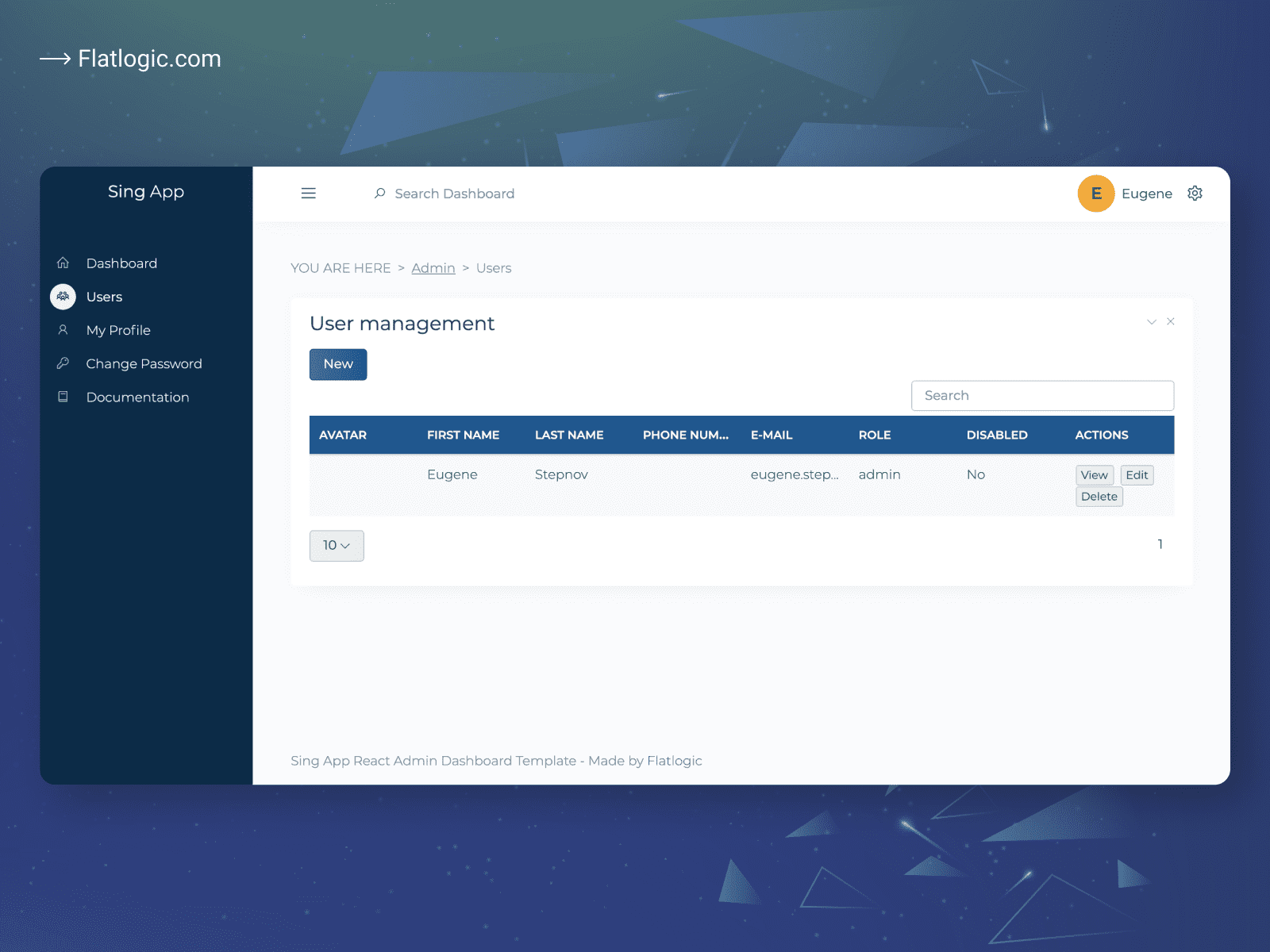 User Management React Template Release