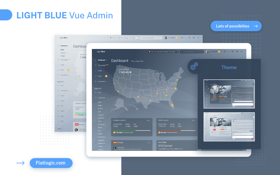 World first transparent admin template built with Vue.js: announcing Light Blue Vue.js full version release!