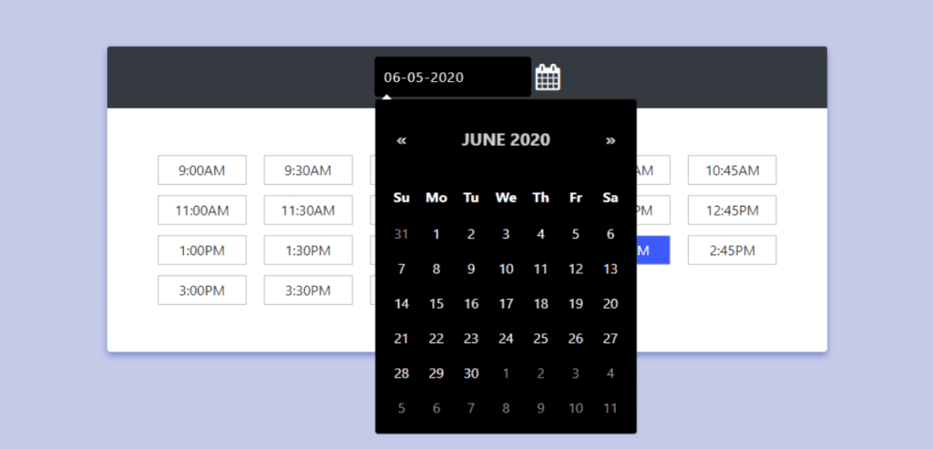 Bootstrap 4 Date Pickers Examples, Bootstrap 4 Dark themed date and time picker