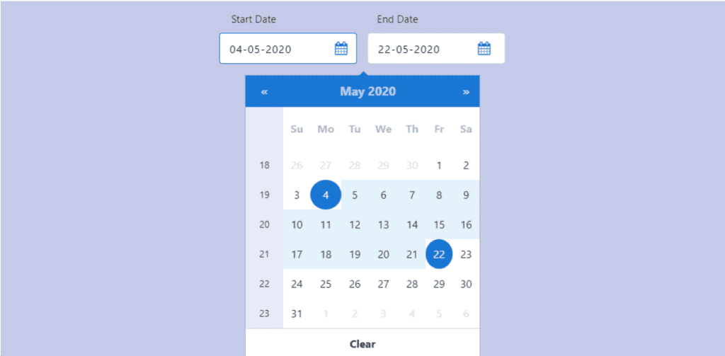 Bootstrap 4 Date Pickers Examples, Bootstrap 4 blue themed date picker with date range and week number