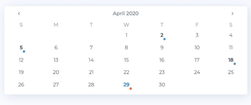 Bootstrap 4 Date Pickers Examples, DatePicker from Flatlogic
