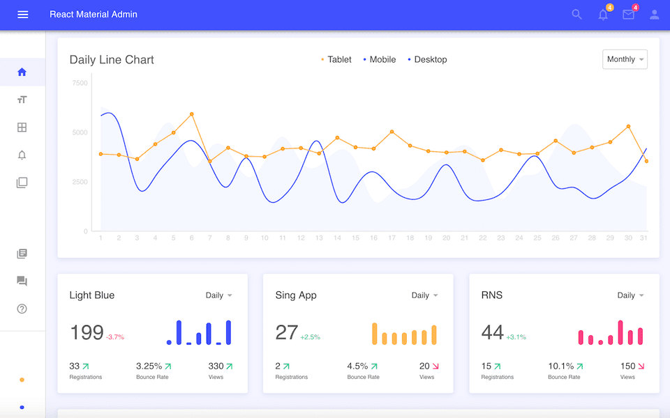 react material admin dashboard