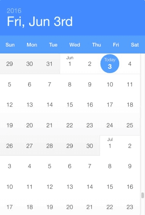Example of calendar date picker