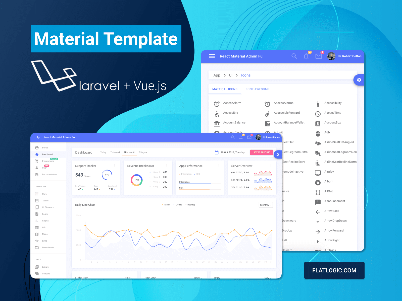 Vue Material Laravel Template is released!