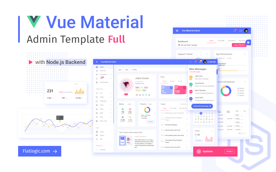 admin template made with Vue