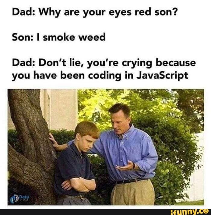 what makes programmers crying | javascript meme